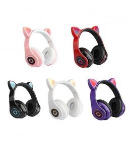 Audífonos Bluetooth Orejas de Gato Negro