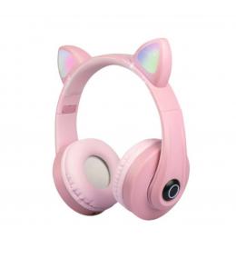 Audífonos Bluetooth Orejas de Gato kd-58m Rosado