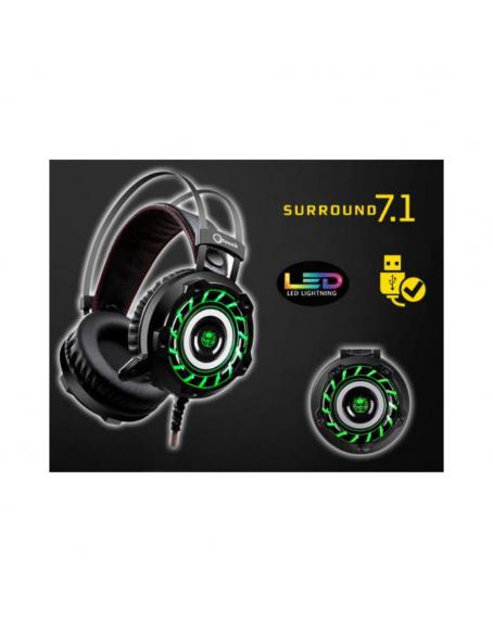 HEADSET GAMING TURBINE ILUMINACIÓN LED VERDE USB 7.1